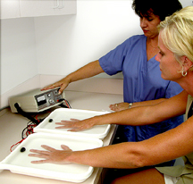 Iontophoresis for sweaty hands and feet